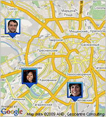 Google Локатор на экране мобильного телефона. Фото с сайта www.google.ru