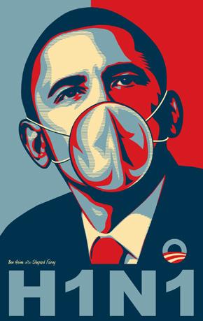 Барак Обама в маске. Свиной грипп. H1N1