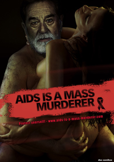 Саддам Хусей. Печатная реклама AIDS IS A MASS MURDERER (СПИД — это серийный убийца)