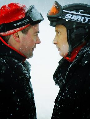 Лыжники Дмитрий Медведев и Владимир Путин