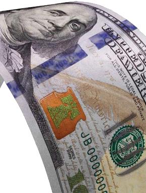 Новые 100 долларов. Купюра образца 2010 года